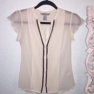 H&M Cream and Black Sheer Blouse
